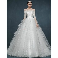 Ball Gown Wedding Dress - White Sweep/Brush Train Off-the-shoulder Tulle