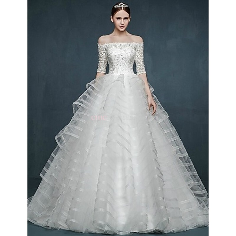Ball Gown Wedding Dress - White Sweep/Brush Train Off-the-shoulder ...