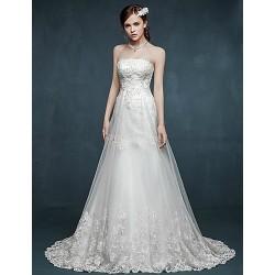 A-line Wedding Dress - White Sweep/Brush Train Strapless Tulle