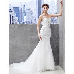 Trumpet/Mermaid Wedding Dress - Ivory Chapel Train Sweetheart Lace/Tulle