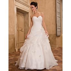 A-line Plus Sizes Wedding Dress - Ivory Chapel Train Sweetheart Organza