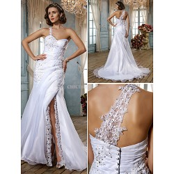 Trumpet Mermaid Plus Sizes Wedding Dress White Sweep Brush Train Sweetheart Organza