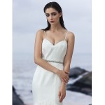 Fit & Flare Court Train Wedding Dress - Sweetheart/Spaghetti Straps Satin/Tulle Wedding Dresses
