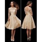 A-line Petite / Plus Sizes Wedding Dress - Champagne Knee-length Scoop Taffeta / Tulle Wedding Dresses