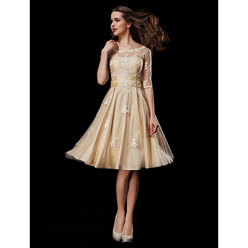 A line petite plus sizes wedding dress champagne knee for Plus size champagne colored wedding dresses