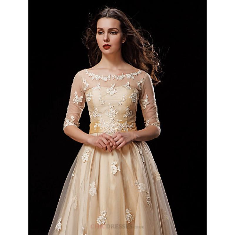 A line petite plus sizes wedding dress champagne knee for Plus size champagne wedding dresses