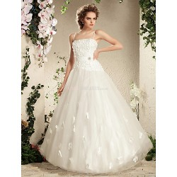 Ball Gown Plus Sizes Wedding Dress - Ivory Floor-length Spaghetti Straps Tulle