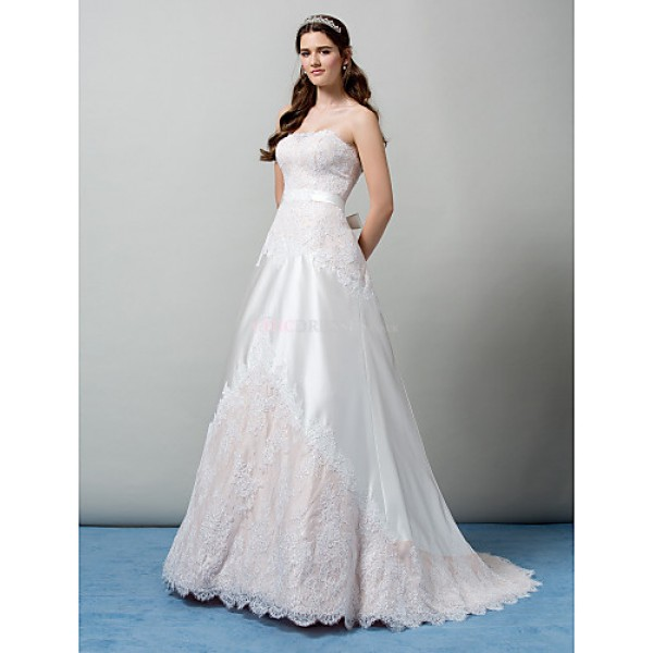 A-line Strapless Sweep/Brush Train Wedding Dress (Lace) Wedding Dresses