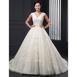 A Line Wedding Dress Champagne Chapel Train V Neck Lace