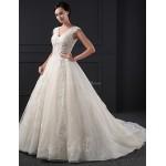 A-line Wedding Dress - Champagne Chapel Train V-neck Lace Wedding Dresses