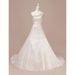 A Line Wedding Dress Ivory Sweep Brush Train One Shoulder Lace