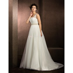 Ball Gown Wedding Dress - Ivory Court Train Straps Tulle