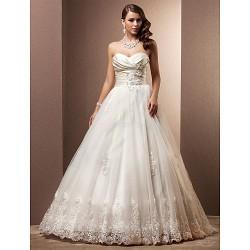 A-line/Princess Plus Sizes Wedding Dress - Ivory Court Train Sweetheart Satin/Tulle