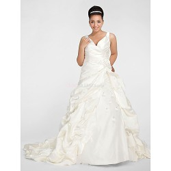 Ball Gown V Neck Chapel Train Satin Plus Size Wedding Dress