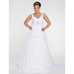 A-line Petite / Plus Sizes Wedding Dress - Ivory Chapel Train V-neck Chiffon