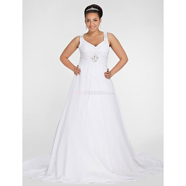 A-line Petite / Plus Sizes Wedding Dress - Ivory Chapel Train V-neck Chiffon Wedding Dresses