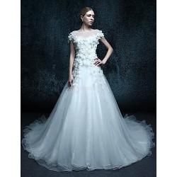 Trumpet/Mermaid Chapel Train Wedding Dress - Scoop Organza