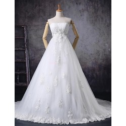 A-line Wedding Dress - White Court Train Strapless Tulle