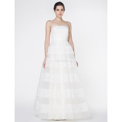 A Line Wedding Dress Ivory Floor Length Strapless Lace Tulle