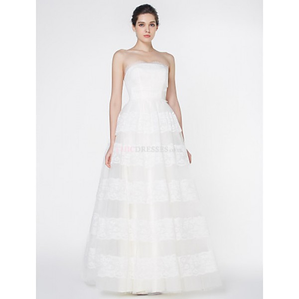 - A-line Wedding Dress - Ivory Floor-length Strapless Lace / Tulle Wedding Dresses