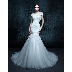 Trumpet/Mermaid Chapel Train Wedding Dress - Off-the-shoulder Tulle