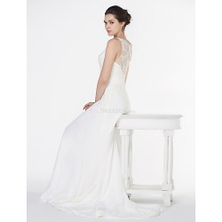 - A-line Wedding Dress - Ivory Court Train V-neck Chiffon