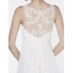 - A-line Wedding Dress - Ivory Court Train V-neck Chiffon Wedding Dresses