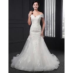 Sheath Column Wedding Dress Ivory Chapel Train V Neck Lace