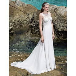 Sheath Column Plus Sizes Wedding Dress Ivory Sweep Brush Train Scoop Chiffon Stretch Satin