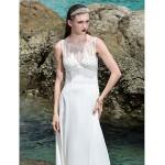 Sheath/Column Plus Sizes Wedding Dress - Ivory Sweep/Brush Train Scoop Chiffon/Stretch Satin Wedding Dresses