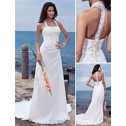 Sheath Column Plus Sizes Wedding Dress Ivory Court Train Halter Chiffon