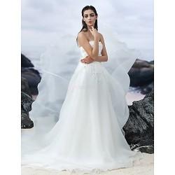 A-line Chapel Train Wedding Dress - Strapless Organza