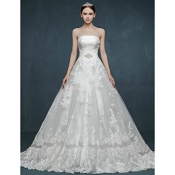 Ball Gown Wedding Dress - White Court Train Strapless Tulle
