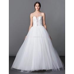 A Line Princess Wedding Dress Ivory Floor Length Sweetheart Tulle