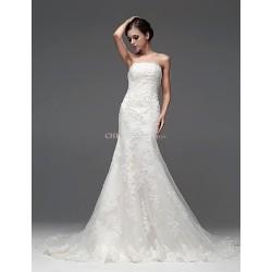 A Line Floor Length Wedding Dress Bateau Satin