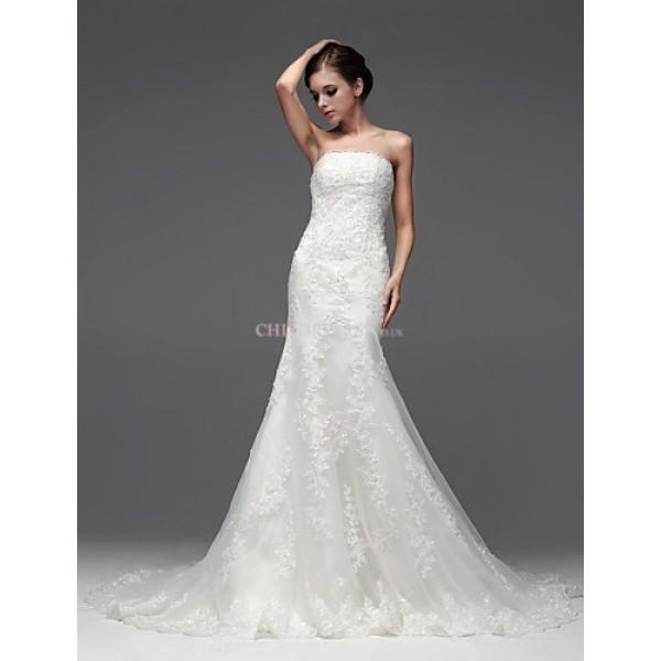 A-line Floor-length Wedding Dress -Bateau Satin Wedding Dresses