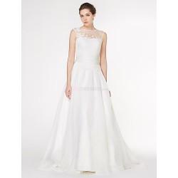 - A-line Wedding Dress - Ivory Court Train Scoop Chiffon / Lace