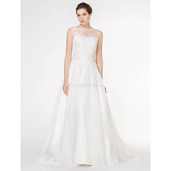 - A-line Wedding Dress - Ivory Court Train Scoop Chiffon / Lace Wedding Dresses