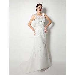 A Line Wedding Dress White Sweep Brush Train Scoop Organza