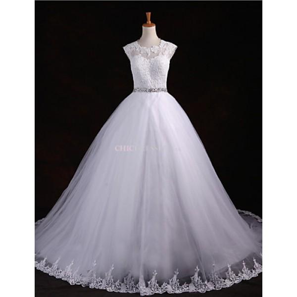 Ball Gown Floor-length Wedding Dress -Scoop Tulle Wedding Dresses