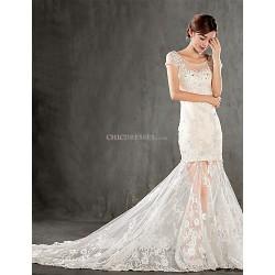 Trumpet/Mermaid Wedding Dress - Champagne Chapel Train Scoop Lace
