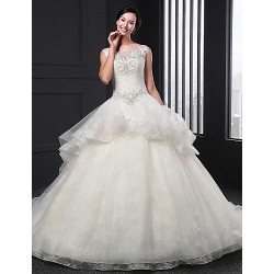 Ball Gown Wedding Dress Ivory Chapel Train Jewel Organza