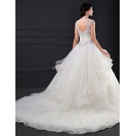 Ball Gown Wedding Dress - Ivory Chapel Train Jewel Organza Wedding Dresses