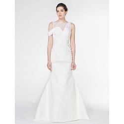 Trumpet Mermaid Wedding Dress Ivory Watteau Train Bateau Chiffon Lace