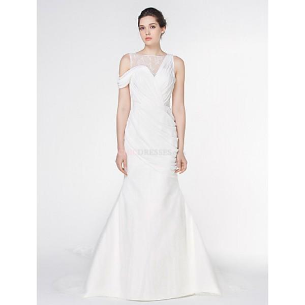 - Trumpet/Mermaid Wedding Dress - Ivory Watteau Train Bateau Chiffon / Lace Wedding Dresses