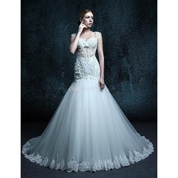 Trumpet/Mermaid Court Train Wedding Dress - Straps Tulle
