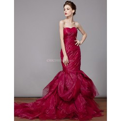 Trumpet Mermaid Floor Length Wedding Dress Strapless Organza