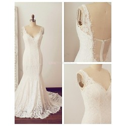 Trumpet Mermaid Wedding Dress Ivory Chapel Train V Neck Lace