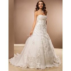 A-line Plus Sizes Wedding Dress - Ivory Chapel Train Strapless Organza