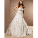 A-line Plus Sizes Wedding Dress - Ivory Chapel Train Strapless Organza Wedding Dresses